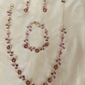 Purple Flower Jewelry Set